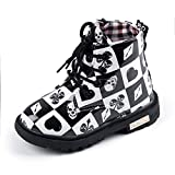 UBEY Toddler Leather Boots Flower Printed Rubber Sole Girls Boots (8M US Toddler, Black/White Grid)