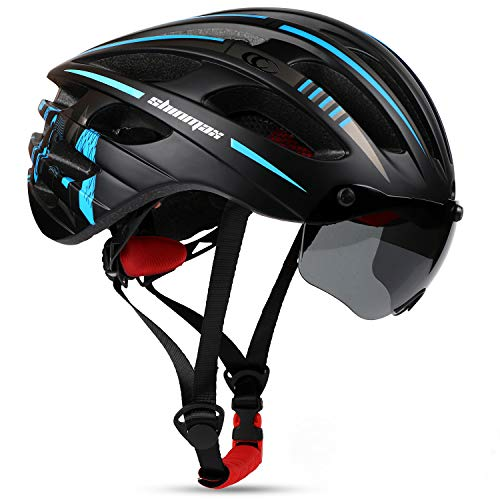 Bike Helmet for Men Women, Shinmax Adult Bicycle Helmet Bc-049 with Cpsc&Ce Certified&USB Charging Light&Detachable Magnetic Goggles Visor&Carry Bag&Uv Protective Cycling Helmet Mountain Road