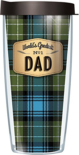 World's Greatest Dad On Blue Flannel 16 Oz Signature Tumbler with Blue Lid