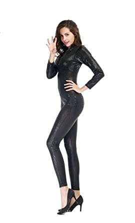 pinse pinse snake skin like leather tight jumpsuit catsuit halloween costumes m black