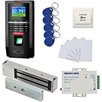1200lbs Mag Lock Color Bio Fingerprint/RFID Door Entry Control System & Time Attendance Kits 110-240V Power Unit+Push to Exit Burron+RFID Keychains/Cards