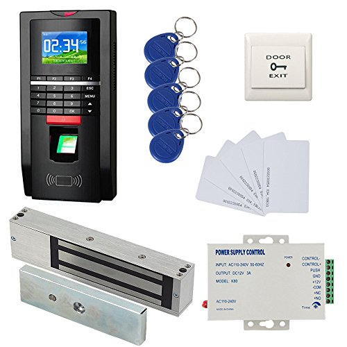 1200lbs Mag Lock Color Bio Fingerprint/RFID Door Entry Control System & Time Attendance Kits 110-240V Power Unit+Push to Exit Burron+RFID Keychains/Cards by MENGQI-CONTROL