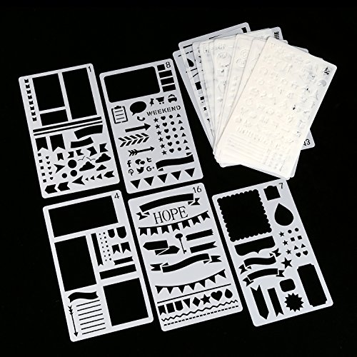 Journal Stencils, 20 PCS Plastic Planner Stencil with Different Patterns for Journaling/Scrap Booking/Notebook/Diary/Drawing/Card and DIY Craft, 4X7 Inch, White