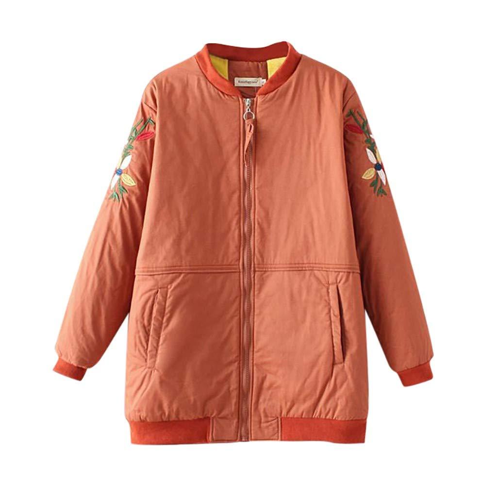 Fashionhe Women Sweatshirt Winter Autumn Warm Zipper Coat Floral Embroidery Jacket Outwear (Orange.4XL) by Fashionhe