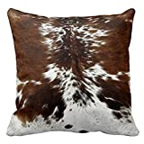 Personalized Throw Pillowcase 18 x 18 Tri Color Brown Cowhide Print Throw Pillow Cover