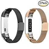 Greeninsync Fitbit Alta Bands Large - Fitbit Alta HR Replacement Band Accessories Milanese Loop Stainless Steel Metal Bands Small for Women Men Girls Boys Wristbands Black Rose Gold - 2pack