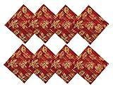 Thanksgiving Metallic Leaf and Plaid Fabric Fall Print Napkin Set 100% Cotton, Set Of 8 Napkins