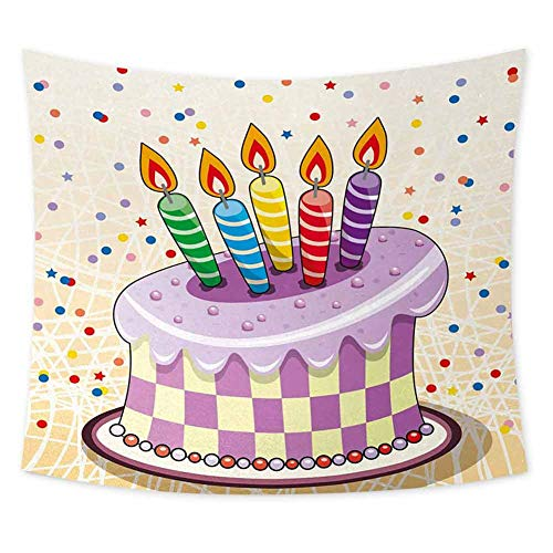 Grateful Dead Birthday Cake (jecycleus Birthday Grateful Dead Tapestry Creamy Cake Illustration with Candles Retro Style Polka Dots Stars Striped Design Living Room Wall Decor for Bedroom W80 x L60 Inch)