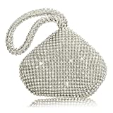 TOPCHANCES Women's Evening Clutch Bag Triangle Full Rhinestones Party Prom Wedding Purse Carrying for iPhone 5/iPhone 5s Lipstick (Sliver)