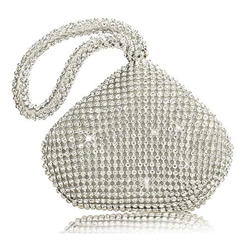 Party upgrade Sliver Purse Bag Prom Women's Clutch Silver Wedding Rhinestones Triangle Bag Full Evening Topchances qwnS0Pp4aq