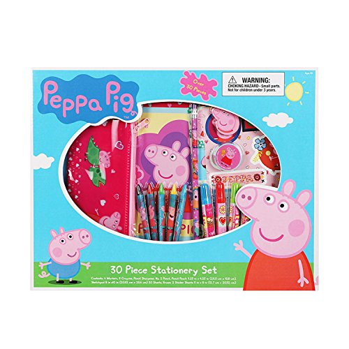 Bek Brands Peppa Pig 30 Pc Stationary Set Kids   4 Markers  5 Crayons  Pencil Sharpener  Pouch  Sketchpad  Eraser Stickers