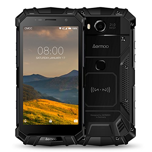 "Rugged Cell Phones Unlocked, Aermoo M1 4G LTE Dual Sim GSM Outdoor Smartphone Android 7.0 5580mAh Helio P25 Octa-core 5.2"" FHD IP68 Waterproof Dustproof Shockproof mobile Phone 64GB ROM 6GB RAM-Black"