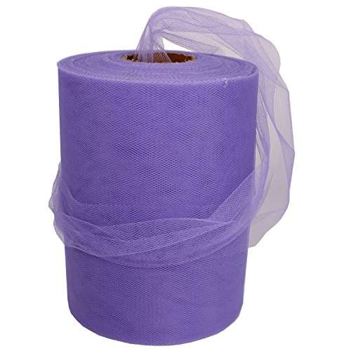 (XiangGuanQianYing Lavender Tulle Spool 6 Inch x 100 Yards for Tulle Decoration)