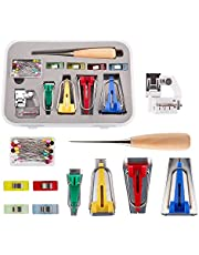 LUTER 4 Sizes Fabric Bias Tape Maker Kit Binding Tools with Sewing Awl, Bead Needles, Binder Clip, Foot Press for Patchwork Sewing/Quilting(6mm, 12mm, 18mm, 25mm)