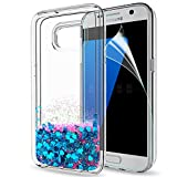 LeYi Case for Samsung Galaxy S7 Edge with Screen Protector, Girl Women 3D Glitter Liquid Cute Personalised Clear Transparent Silicone Gel TPU Shockproof Phone Cover Blue