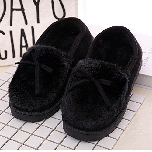 Chaussons Cachemire Anti tricoté Black coton Chambre Ladies' LaxBa Slip ZxqT7E