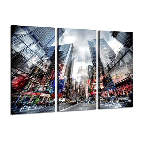 - Architecture Artwork Urban Cityscape Painting: NYC Time Square with Street at Dawn, 3 Piece Wall Art on Wrapped Canvas Set
