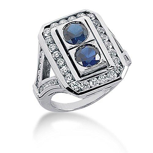 4.35 Ct Round Diamond (4.35 Ct Diamond Sapphire Ring Engagement Round cut 14k White)