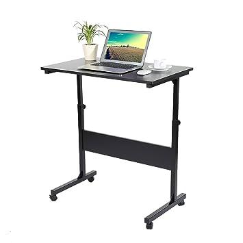 Zerone Mesa de Ordenador con Ruedas, Mesa Ajustable para Laptop y Escritorio de Estudio para Niños Escritorio para Hogar o Oficina (Negro): Amazon.es: Hogar