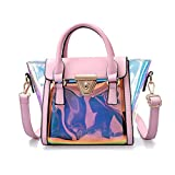 Chic-Dona Laser Messenger Bag Candy Women Fashion Jelly Transparent Handbag Plastic Shoulder Bags Hasp Lock Chains Handbags Pink