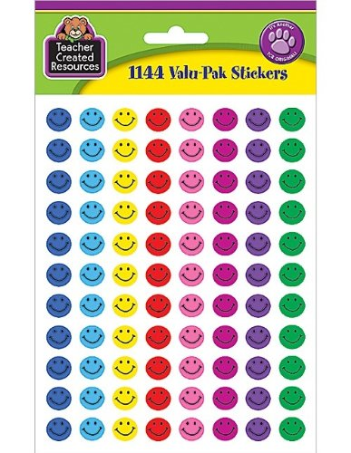 Mini Reward Stickers - Teacher Created Resources Mini Happy Face Stickers Valu-Pak, Multi Color (6633)