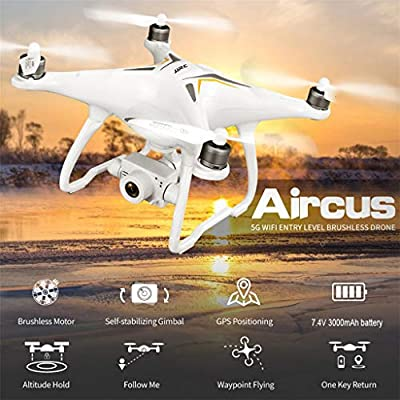 WLPT GPS RC Drone, JJRC X6 Aircus Drone with Two-axis Stabilization GPS Auto Return Home Quadcopter with Follow Me Tap Fly Anti-Jitter PTZ 1080P Camera