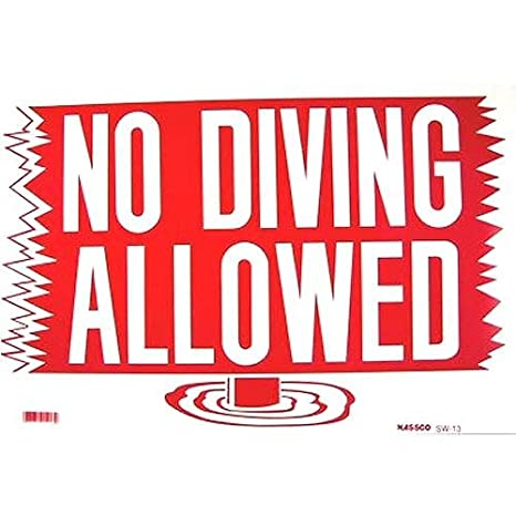 Amazon.com : Grizzly No Diving Allowed Swimming Pool Safety ...
