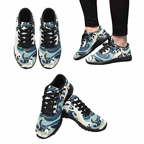 Ondes De Locéan Interestprint, Mousse, Éclaboussures Femmes Jogging Running Sneaker Léger Aller Chaussures De Marche Facile Multi 1