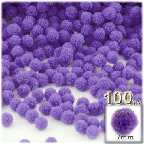 The Crafts Outlet 100-Piece Multi purpose Pom Poms, Acrylic, 7mm/0.28-inch,