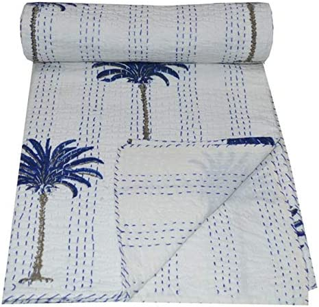 Indian Palm Tree Vintage Cotton Quilt Handmade Twin Kantha Throw Bedspread White