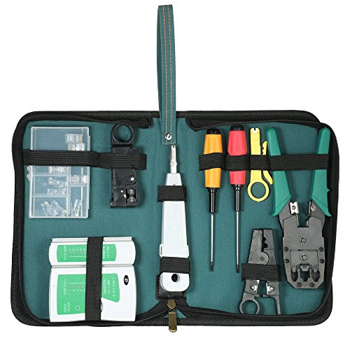 KKmoon 9-in-1 Professional Network Computer Maintenance Repair Tools Kit Cable Tester + Crimper + Wire Stripper + 10pcs 8P8C/RJ45 Crystal Cable Connectors Network Tool