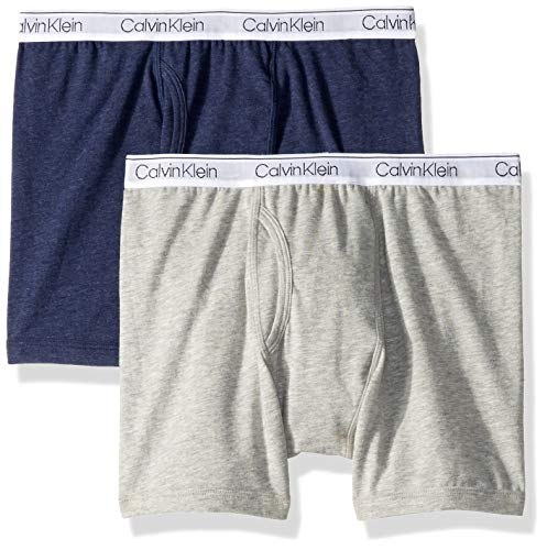Calvin Klein Boys' Big Assorted 2 Pack Boxer Briefs, Gray/Heather Blue, X-Small/4-5