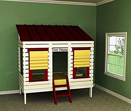 Amazon Com Easy Diy Kids Tree House Twin Bed Woodworking Plans