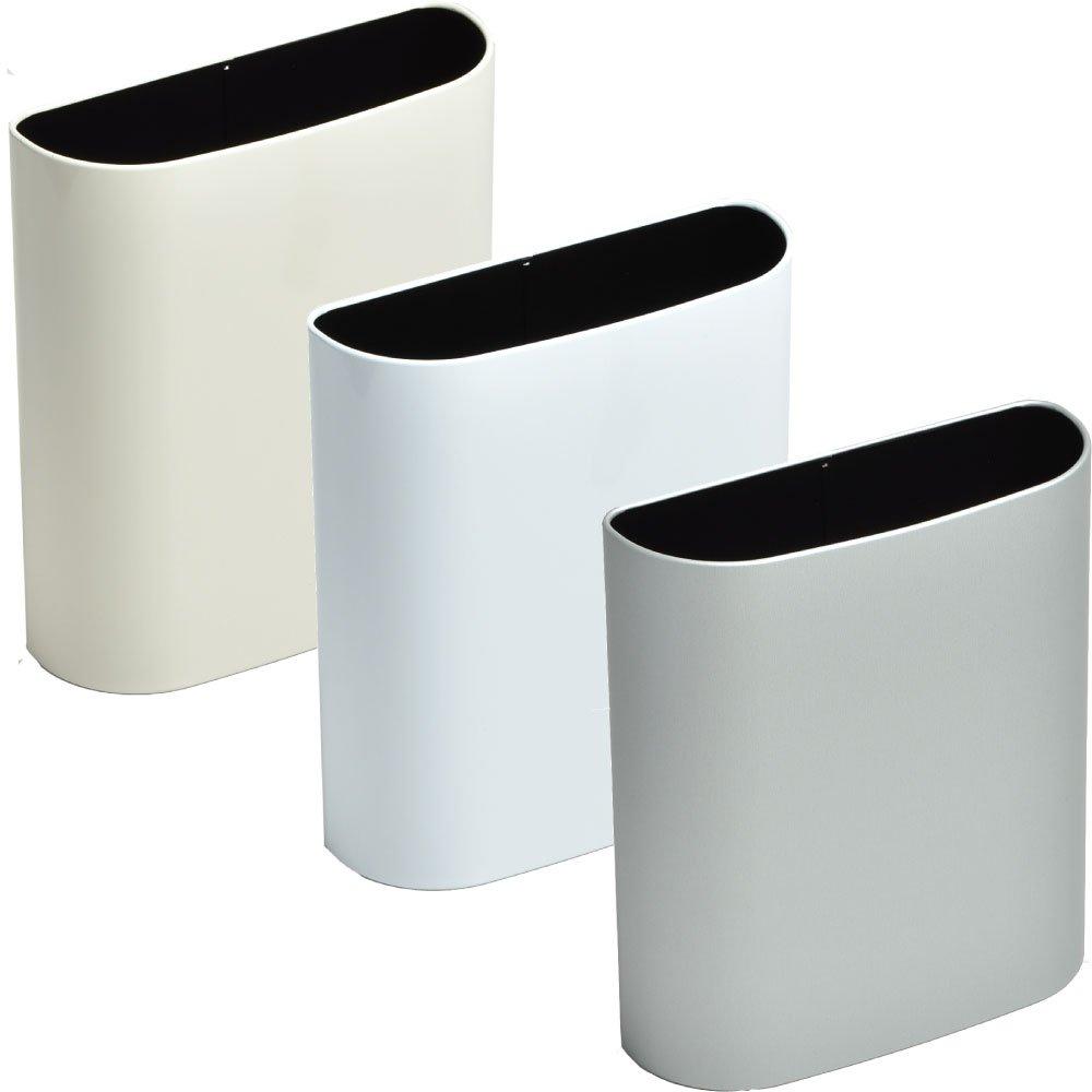 ぶんぶく マグネットバケット 全9色の中から選べる3個セット ゴミ箱 ごみ箱 ダストボックス おしゃれ 日本製 (アイボリー×ホワイト×シルバーメタリック) B075K4PGP3 アイボリー×ホワイト×シルバーメタリック アイボリー×ホワイト×シルバーメタリック