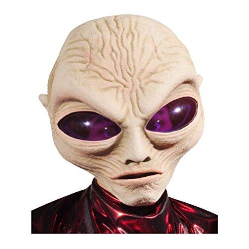 Alien Mask Gray Purple Eyes Roswell Latex Brain Halloween Costume Space Prop