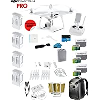 DJI Phantom 4 PRO Quadcopter Drone with 1-inch 20MP 4K Camera KIT + 4 Total DJI Batteries + 3 64GB Micro SDXC Cards + Card Reader 3.0 + Snap on Prop Guards + Range Extender + Charging Hub + Backpack