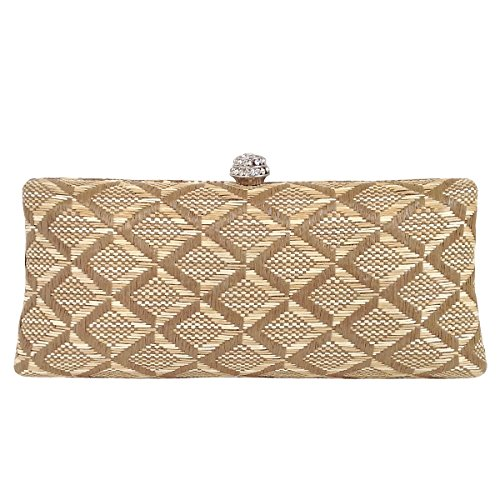 Geometric Patterned Raffia Straw Box Clutch