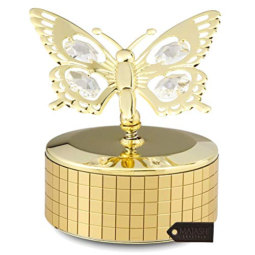 Matashi 24K Gold Plated Music Box with Crystal Studded Butterfly Figurine
