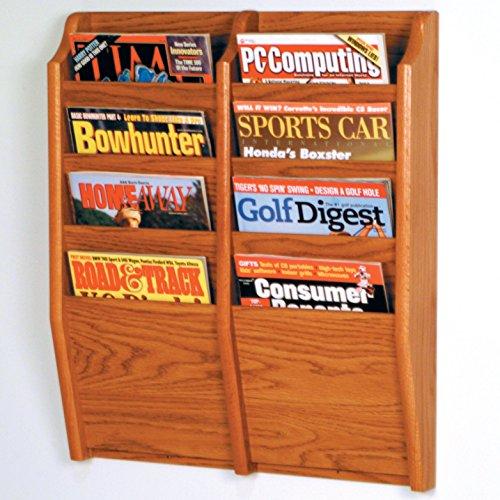 Wooden Mallet 8-Pocket Cascade Magazine Rack, Medium Oak - Oak Wall Magazine Holder