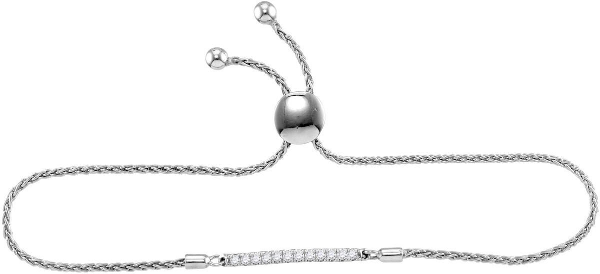 Sterling Silver Womens Round Diamond Single Row Bolo Adjustable Bracelet 1/4