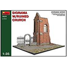 Miniart 1:35 Scale Diorama with Ruined Church Plastic Model Kit (Grey) by Miniart