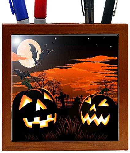 Rikki Knight 5-Inch Halloween Pumpkins Glow Design Wooden...