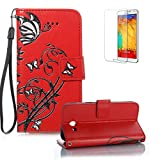 For Samsung Galaxy J3 Case (2017 Model), Funyye Classic Vintage Folio PU Leather Wallet Magnetic Flip Cover with [Wrist Strap] and [Butterfly Flower Pattern] Book Style Shockproof Bumper Cover for Samsung Galaxy J3 2017-Red