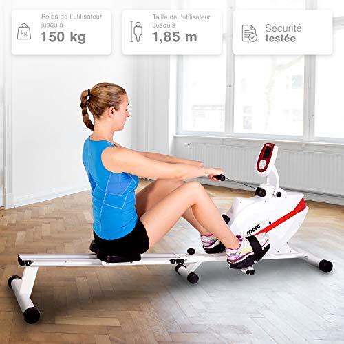 SportPlus Máquina de Remo Fitness para Uso Interior - Incluye Receptor de Ritmo Cardíaco de 5 kHz en de Remo - Máquina de Remo Plegable - Máx. Peso Usuario ...