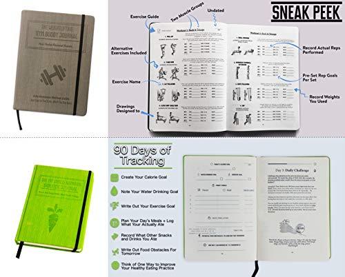 Bundle: 1x Red Morning Sidekick Journal, 1x Green Fat Loss & Nutrition Sidekick Journal, 1x Blue Meditation Sidekick Journal & 1 Gray Weightlifting Gym Buddy Journal by Habit Nest (Image #5)
