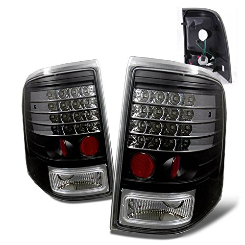 SPPC Black LED Tail Lights Assembly Set for Ford Explorer/Mercury Mountaineer - (Pair) Driver Left and Passenger Right Side Replacement (Black Corner Jdm Lights 2dr)