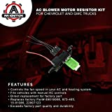 AC Blower Motor Resistor Kit With Harness - Replaces # 89019088, 973-405, 15-81086, 22807123 - Chevy Silverado, Tahoe, Suburban, Avalanche, GMC Sierra, Yukon, Cadillac Escalade - HVAC Fan Blower Motor