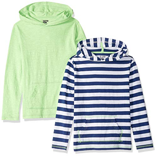Spotted Zebra Big Boys' 2-Pack Light-Weight Hooded Long-Sleeve T-Shirts, Navy Stripe/Green, XX-Large (14) ()