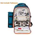 Luckycyc Picnic Backpack for 4 Person Tableware Picnic Pack with Waterproof Mat Detachable Wine Bottle Holder