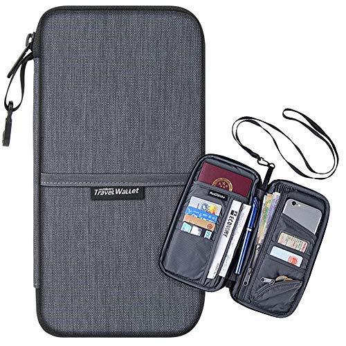 Passport Holder with Rfid Blocking - Luxsure Multi-purpose Travel Passport Wallet Waterproof Ticket Card Bag Document Organizer Holder (Gray) -